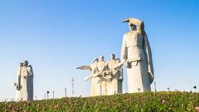 El monumento de los héroes gloriosos de la división de Panfilov, los fascistas derrotados en Moscú lucha, Dubosekovo, región de M fotos de archivo libres de regalías