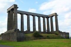 El monumento nacional de Escocia, en la colina de Calton en Edimburgo Imagen de archivo