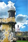 El morro. Fort in san juan, puerto rico, sentry tower box royalty free stock photos