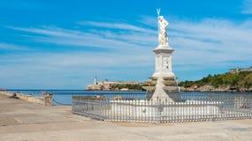 EL Morro a Avana con una statua di Nettuno Fotografia Stock Libera da Diritti