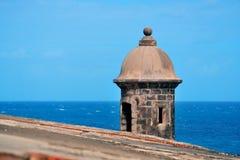 El Morro castle at old San Juan. Watch tower in El Morro castle at old San Juan, Puerto Rico stock photo