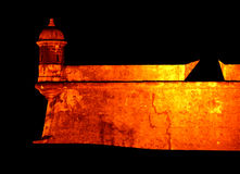 El Morro Fort. San Felipe El Morro fort at night in San Juan, Puerto Rico stock photos