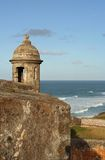 El Morro Fort Garita. Close up of a garita on one of the walls of the El Morro fort in Old San Juan, Puerto Rico stock photos