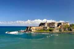 El morro fort in Old San Juan, Puerto Rico. Famous El Morro fortress in Old San Juan,puerto Rico,Caribbean-West Indies Stock Photo
