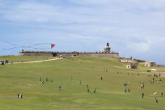 El Morro Fort Puerto Rico. Beautiful and impressive historic construction, surrounded on a white, blue and green background stock image