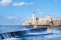El Morro fortress in Havana during a tropical storm Royalty Free Stock Photography