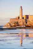 El morro fortress and lighthouse in Havana at sunset. El morro fortress and lighthouse at sunset , a symbol of the city of Havana Stock Images