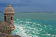 El morro sentry box, bay of san juan, puerto rico. Stock Image