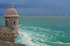 El morro sentry box, bay of san juan, puerto rico. Stock Image