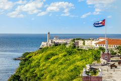 El Morro spanish fortress with lighthouse, cannons and cuban fla Royalty Free Stock Photos