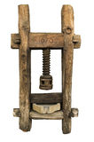 El mortero de madera viejo para el cereal, 1676 fechó Foto de archivo
