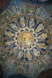 El mosaico del techo del bautisterio del neón Ravena, Italia Fotos de archivo libres de regalías
