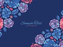 El mosaico del vector florece esquinas dobles horizontales Imagen de archivo
