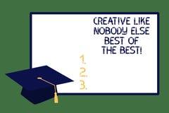 El mostrar de la muestra del texto creativo como nadie casquillo de alta calidad de la graduación de la creatividad de la foto co fotos de archivo