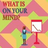 El mostrar de la muestra del texto cuál está en su Mindquestion La foto conceptual de mente abierta piensa en la innovación intel stock de ilustración