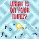 El mostrar de la muestra del texto cuál está en su Mindquestion La foto conceptual de mente abierta piensa en la innovación intel ilustración del vector