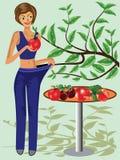 El mostrar feliz de la mujer cuánto peso ella perdió ilustración del vector