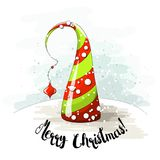 El motivo estacional, el árbol de navidad abstracto con las perlas y el texto lo dejaron nevar, vector el ejemplo Foto de archivo libre de regalías