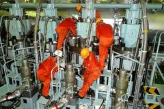 El motor combinado VLCC estupendo del petrolero, es la unidad de poder de la nave imagen de archivo libre de regalías
