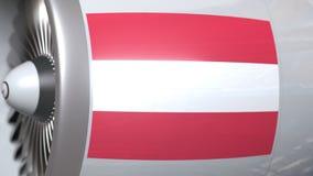 El motor de avión con la bandera de Austria, transporte aéreo austríaco relacionó la animación 3D metrajes