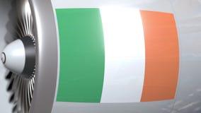 El motor de avión con la bandera de Irlanda, transporte aéreo irlandés relacionó la animación 3D almacen de metraje de vídeo