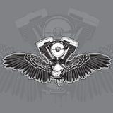 El motor de la motocicleta con las alas y el escaparse de la parte inferior Ilustración del vector ilustración del vector