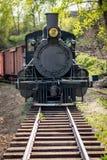 El motor viejo del ferrocarril rueda abajo las pistas Fotografía de archivo