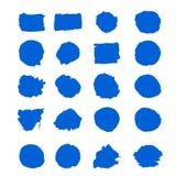 El movimiento de la brocha de la tinta azul del vector de la colecci?n fij? movimientos decorativos del cepillo del grunge exhaus stock de ilustración
