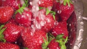 El movimiento de la cámara en las fresas en un colador debajo del agua cae la cámara lenta metrajes