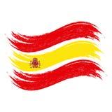 El movimiento del cepillo del Grunge con la bandera nacional de España aisló en un fondo blanco Ilustración del vector stock de ilustración