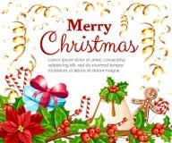 El muérdago rojo de la poinsetia de la decoración de la Navidad con verde deja a pan de jengibre el palillo anaranjado del bastón Imágenes de archivo libres de regalías