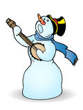 El muñeco de nieve canta Imagenes de archivo