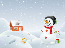 El muñeco de nieve de la Navidad ayuda a Santa Fotos de archivo libres de regalías