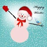 El muñeco de nieve feliz arma Outstreached Fotografía de archivo libre de regalías