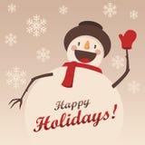 El muñeco de nieve feliz le saluda Fondo de la Navidad con los copos de nieve Fotografía de archivo