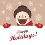 El muñeco de nieve feliz le saluda Fondo de la Navidad con los copos de nieve Imagen de archivo libre de regalías