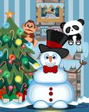 El muñeco de nieve que lleva un sombrero y las corbatas de lazo con el lugar del árbol de navidad y del fuego Vector el ejemplo Imagenes de archivo
