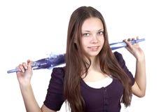 El muchacha-adolescente con un paraguas en manos Imágenes de archivo libres de regalías