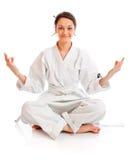 El muchacha-combatiente en kimono Fotos de archivo