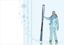 El muchacha-esquiador en un fondo del invierno Imagen de archivo libre de regalías