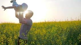 El muchacho alegre en las manos parent en la forma de aeroplano en el campo, papá con el hijo en los brazos jugados en las flores
