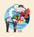 El muchacho aprende negocio y financia el diseño infographic, aprende concepto Foto de archivo