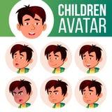 El muchacho asiático Avatar fijó vector del niño Escuela primaria Haga frente a las emociones Facial, gente Lindo, cómico Bandera ilustración del vector