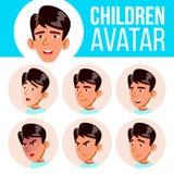 El muchacho asiático Avatar fijó vector del niño Escuela primaria Haga frente a las emociones Plano, retrato Juventud, caucásica  libre illustration