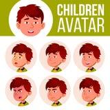 El muchacho asiático Avatar fijó vector del niño kindergarten Haga frente a las emociones Niños, gente joven Active, alegría, oci stock de ilustración