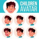 El muchacho asiático Avatar fijó vector del niño kindergarten Haga frente a las emociones Web, cabeza, icono Belleza, forma de vi libre illustration