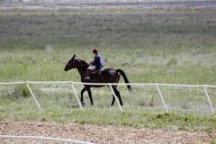 El muchacho asiático joven está montando su caballo puro de la raza Foto de archivo