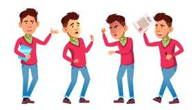 El muchacho asiático plantea vector determinado Alto alumno classmate Vida, emocional, actitud Para el web, folleto, diseño del c libre illustration