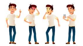 El muchacho asiático plantea vector determinado Alto alumno Pánico, choque classmate adolescente Para la publicidad, folleto, car stock de ilustración