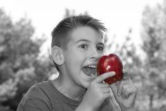 El muchacho come Apple Imágenes de archivo libres de regalías